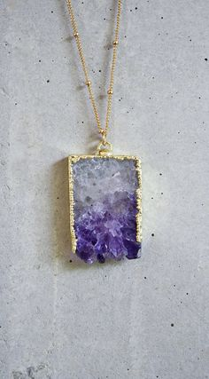Raw Amethyst Slice Gold Filled Necklace. $45.00, via Etsy.