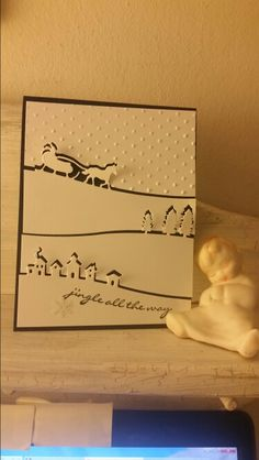 Stampin ' up Christmas - I used one piece of whisper white cardstock and placed the edgelits all at the same time on the magnetic plate on the Big Shot to cut out the images. Stampin' Up Jingle All the Way stamp set, Night of Navy cardstock and Sleigh Ride edgelits. I used the polka dot embossing folder to depict snow.