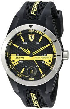 Ferrari Men's 0830277 REDREV T Analog Display Japanese Quartz Black Watch