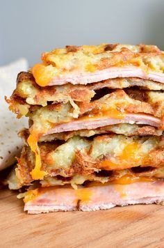 Quick and Easy Syn Free Cheese and Ham Stuffed Hash Brown Waffle - perfect any time of day and ready in less than 20 minutes.