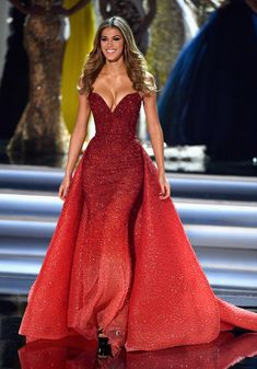 Miss Universe 2016 Iris Mittenaere appears during the 2017 Miss Universe Pageant at The Axis at Planet Hollywood Resort & Casino on November 26, 2017 in Las Vegas, Nevada.