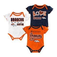 Denver Broncos Baby Girls' 3pk Bodysuit Set - 12 M, Size: 12 Months, Multicolored