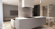 kitchen design. Interior design project Madama. Projekt wnętrza kuchni utrzymany w stylistce szarości beżu. Projekt wnętrza MADAMA