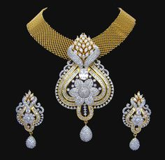 Indian CZ AD Gold & Silver Bollywood Famous Bridal Necklace Set Swam Jewelry 192