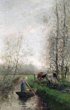 Landscape with Cattle by Willem Maris; Oil on canvas; Collection: Aberdeen Art Gallery & Museums