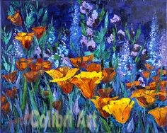 "Original Oil Painting Summer colors 16"" x 20"" Gallery Canvas Multicolor by Colibri Art Materials: gallery stretcher, oil paints, palette knife Painting  Oil  oil painting  colorful painting  original painting  painting for gift  impressionism  girl gift gift for women  flowers  fantasy  orange  blue  Californian poppy  Eschscholzia"