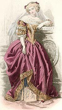 А.Портье по рисунку Ф.-К.Конт-Кали. Двор Людовика XIII (1630). 1854. Раскрашенная гравюра на стали.