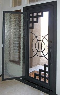 Iron Entry Doors - modern - front doors - phoenix - First Impression Security Doors.( I like this idea! Modern Entry, Modern Front Door, Door Gate Design, Front Door Design, Iron Front Door, Iron Doors, Wrought Iron Security Doors, Tor Design, Window Grill Design