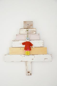 wood & wool x-mas tree (of the day)