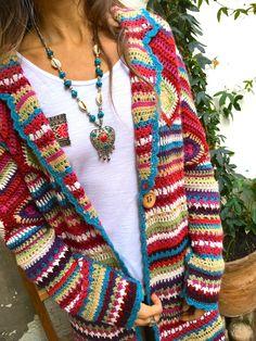 Long Sleeve Casual Hoodie Winter Teddy Bear Printed Warm Plus Size Coat – knitting sweaters vintage Cardigan Au Crochet, Gilet Crochet, Cardigan En Maille, Crochet Granny, Mode Crochet, Knitted Coat, Casual Sweaters, Boho Sweaters, Casual Tops
