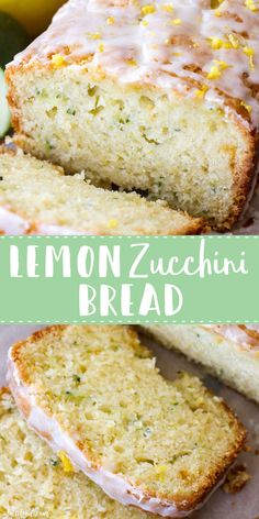 Homemade Lemon Zucchini Bread is sweet, moist, and slightly tangy thanks to the homemade lemon glaze on top! This easy zucchini bread recipe has a lemon bread twist to it, making it the perfect quick bread Lemon Zucchini Bread, Lemon Bread, Zucchini Bread Recipes, Dairy Free Zucchini Bread, Cinnamon Zucchini Bread, Gluten Free Zucchini Muffins, Carrot Bread Recipe, Zucchini Bites, Zucchini Fritters