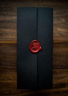 Wedding Chicks - Dramatic wedding invitation by Penn & Paperie – a black pocket folder with red wax seal. Wedding Cards, Our Wedding, Dream Wedding, Wedding Albums, Wedding Venues, Wedding Bride, Geek Wedding, Wedding Wishes, Wedding Programs