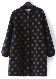 Chic Women's Long Sleeve Polka Dot Stand Collar Coat