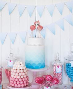 Love the ombre! An Ombré Flamingo Cake: For a retro pink flamingo pool party, this ombré blue cake —topped off with flamingos — was just the way to go!  Source: Sweet Style