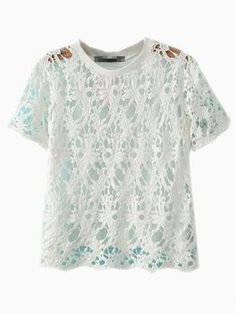 White Lace Hollow 0ut Blouse - Choies.com