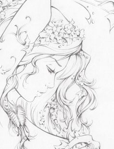 """Another pinner, """"At HeroesCon I drew a sketch cover of Poison Ivy and I wished that I'd had a chance to draw her bigger with more detail & get to explore that idea a bit more, so that's exactly what I did this weekend. I am a mom, so I didn't have much time, but whenever there was a free minute here or there when the kids were busy playing, I'd sit & doodle & this is what came from it. I'll post the full thing tonight, but here's a little tease."""""""