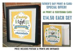 SPECIAL OFFER Fathers Day Typography Print & by JLWIllustration, £11.50
