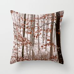 Snowy forest Throw Pillow Snow is falling in a broadleaf forest  snow, winter, autumn foliage, leaves, white, orange, trees,landscape,snowflakes