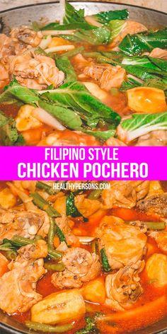 Chicken Pochero Recipe - Recipe Ni Juan - I just want to share this easy to prepare Filipino Style Chicken Pochero Recipe, one of the country - Chicken Recipes Filipino, Asian Recipes, Healthy Recipes, Filipino Food, Vegetarian Recipes, Filipino Noodles, Lunch Recipes, Vegetable Recipes, Drink Recipes