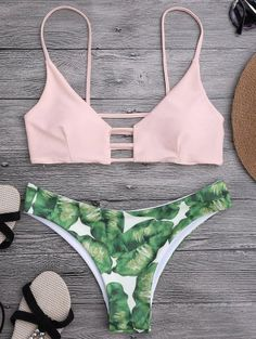 SHARE & Get it FREE | Ladder Cut Palm Tree Print Bikini - Shallow Pink MFor Fashion Lovers only:80,000+ Items • New Arrivals Daily Join Zaful: Get YOUR $50 NOW!