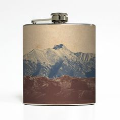 Mountain Landscape Whiskey Flask Traveler Camping Hiking Outdoors Climbing Nature Weekend Gift Stainless Steel 6 oz Liquor Hip Flask LC-1041...