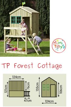 TP Forest Cottage a compact playhouse with a spacious verandah and integral shaded sandpit. Sand Pits For Kids, Forest Cottage, Social Activities, Gross Motor Skills, Seesaw, Garden Toys, Outdoor Play, Play Houses, Compact
