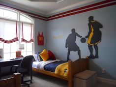 Basketball themed boys bedroom idea - basket ball mural