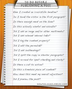 Checklist before publishing a blog post