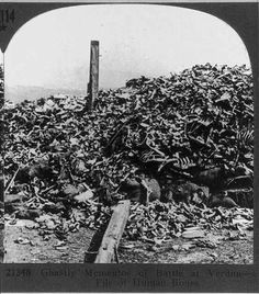 Pile of corpses, recovere after the war and ready to go in the ossuary, Verdun WWI