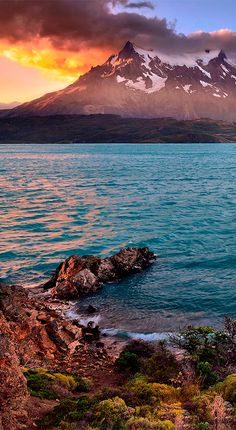 Lago Pehoé sees some of the most stunning sunsets in Torres del Paine National Park #Sunset