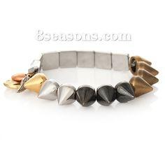 Wholesale Fashion Elastic Rivet Bracelets Multicolor Peace Symbol Pendants – 8seasons.com