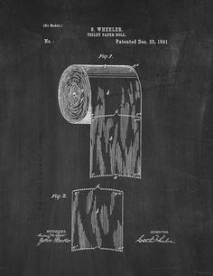 "Toilet Paper Roll Patent Print - Chalkboard 5"" x 7"" for $7.95"
