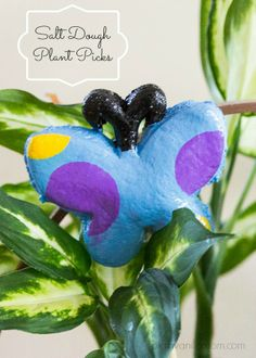 Salt Dough plant picks make beautiful homemade Mother's Day or teachers gifts or just a fun spring project.