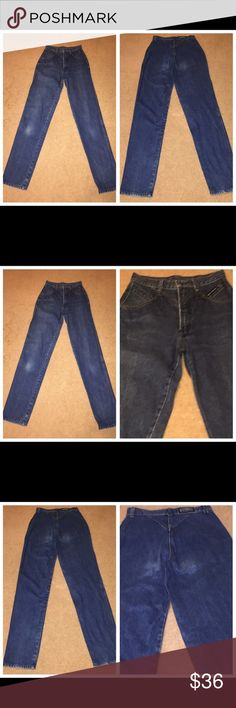 Vintage Rocky Mountain High Waist denim jeans Sz 7 073017-28 drnerds  Vintage Rocky Mountain High Waist cotton denim jeans, Sz 7 Vintage Rocky Mountain 100% cotton ladies dk denim jeans with high waist and slightly full legs, Sz 7 (Note: these are for the taller woman) Waist - 26 Inseam - 36 Rocky Mountain Jeans