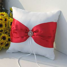 With a red ribbon bow with a imitation diamante ring cluster in the middle of the bow. You are viewing this gorgeous white satin covered ring pillow. Ring Bearer Pillows, Ring Pillow, Feather Signs, Bridal Rings, Wedding Ring, Wedding Stuff, Wedding Ideas, Wooden Wedding Guest Book, Ribbon Bows