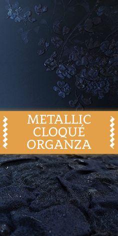 Metallic Silk Blend Cloqué Organza with Large Floral Leaf Motifs (Made in Switzerland)