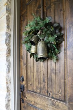 How to Create a Simple Christmas Porch, simple christmas wreath ideas, farmhouse christmas decor ideas, large Christmas bells