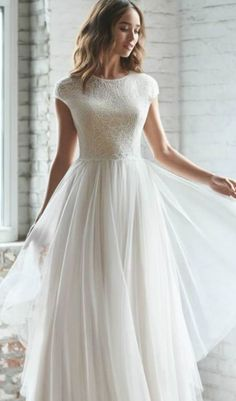 Evening Dresses For Weddings, Modest Wedding Dresses, Tulle Wedding, Lace Weddings, Elegant Dresses, Wedding Dress Petite, Gown Wedding, Mermaid Wedding, Simple Short Sleeve Wedding Dress