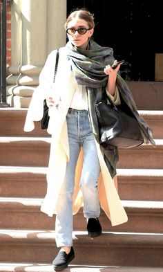 Ashley Olsen Heads Out In A 90s-Inspired Layered Look With Jeans (via Bloglovin.com )