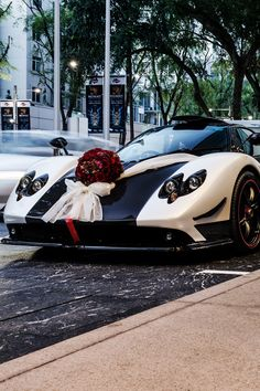 Pagani Zonda Cinque as a wedding car..........Not sure a traditional gown would fit into it though...............