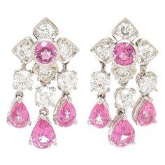 Graff Pink sapphire Petals collection Diamond Platinum Earrings                                                                                                                                                                                 More