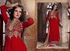 Designer SalwarSuit Anarkali Red Indian Pakistani Ethnic Party Bollywood 1731…