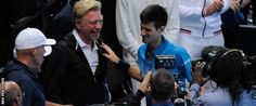Novak Djokovic and Boris Becker after Novak won ATP World Tour Championship at O2 Arena in London on 22 November, 2015 for 4th consecutive time.  It was Boris' birthday as well.