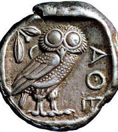Dracma- Athens owl. Antique Greek coin depicting an owl