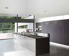 Black white wallpaper look kitchen cabinets