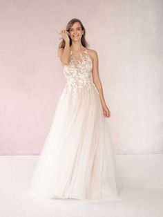 Marla by Allure Bridals shows off an illusion high neckline with romantic lace in the front and back of the bodice Perfect Wedding Dress, Dream Wedding Dresses, Designer Wedding Dresses, Bridal Dresses, Bridesmaid Dresses, Girls Dresses, Flower Girl Dresses, Illusion Neckline Wedding Dress, Illusion Dress