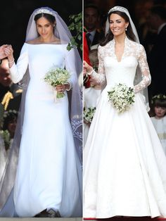 While Kate and Meghan both wore long-sleeved gowns, Prince William's bride opted for Alexander McQueen while Prince Harry's new wife wore Givenchy in a boatneck style.