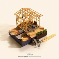 ". 10.8 sat ""Matching house"" . 火の用心マッチ一本火事のもと . #一本どころではない #木の日 #足袋の日 #Matchstick #ジオコレ #トミーテック ."