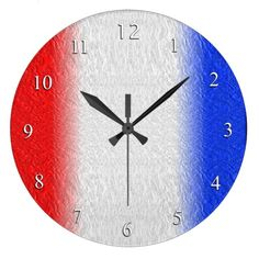 Red White and Blue Stripe Large Clock by kahmier 40% off tote bags #zazzle www.leatherwooddesign.com  #sale