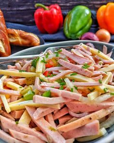 Wurstsalat mit Käse – Einfach und lecker Sausage salad with cheese is a quick, easy and tasty hit fr Healthy Chicken Recipes, Healthy Dinner Recipes, Appetizer Recipes, Crockpot Recipes, Breakfast Recipes, Paleo Breakfast, Greek Recipes, Mexican Food Recipes, Ethnic Recipes